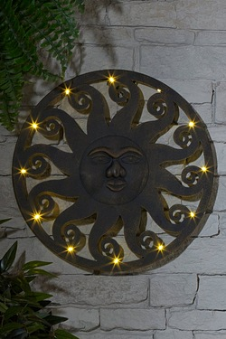 Celestial Iron Sun Light Up Wall Plaque