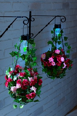 Set Of 2 Hanging Baskets With Solar Lights