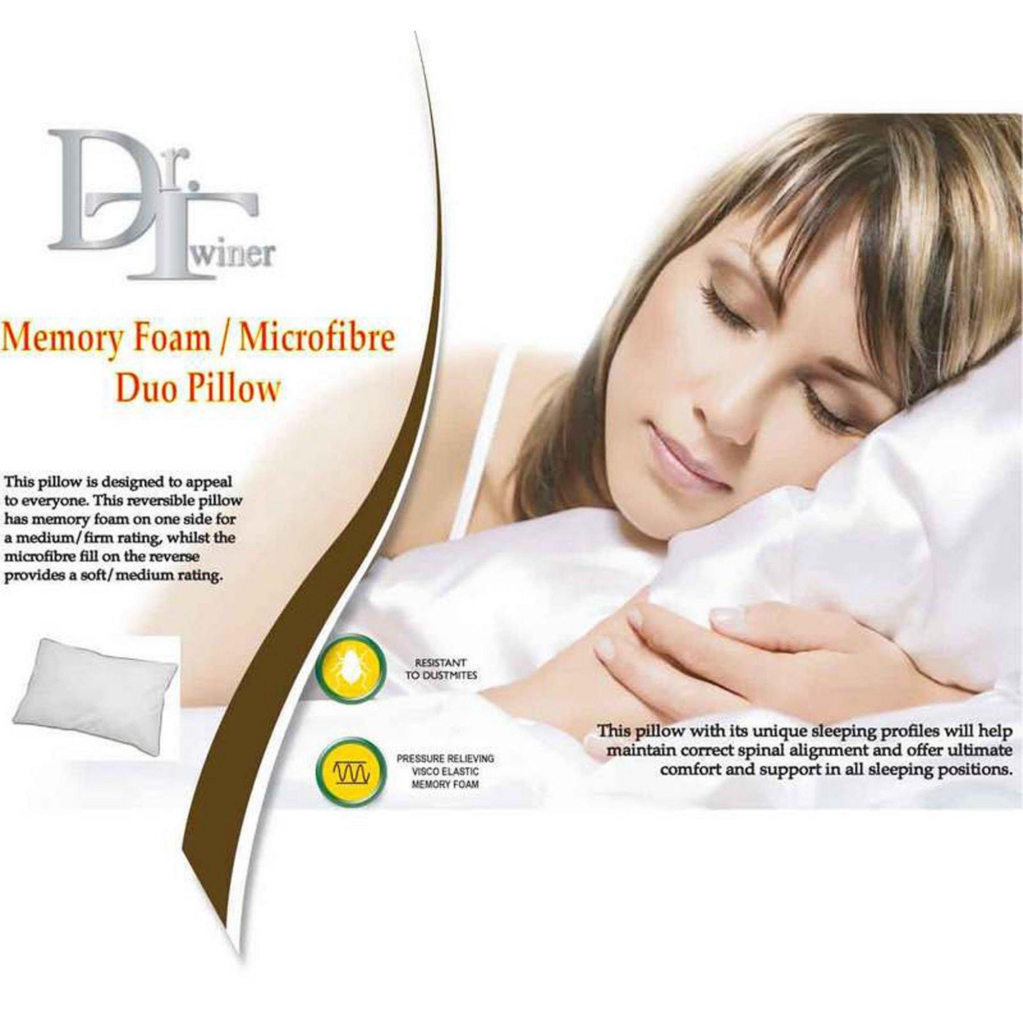 Image of Dr Twiner Duo Memory Foam&#44 Microfibre Pillow