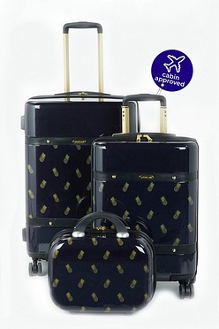 34b3e8307c05 3-Piece Pineapple Print 4 Wheel ABS Luggage Set