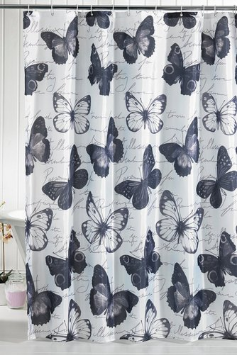 Image For Butterfly Script Shower Curtain From Studio