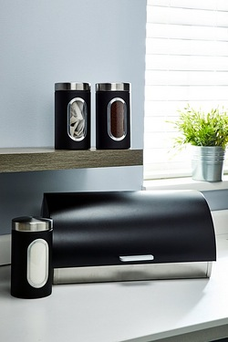 Stainless Steel Roll Top Bread Bin and 3 FREE Canisters
