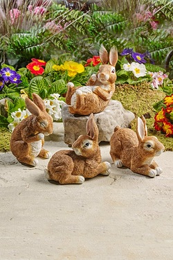 Set Of 4 Rabbits Garden Ornaments