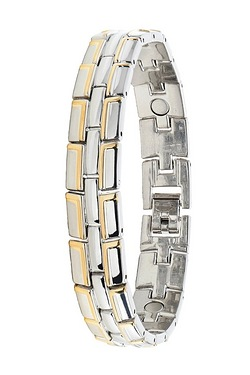 Gents Magnetic Two Tone Bracelet