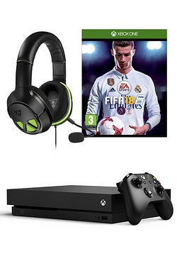 Xbox One X Black 1TB Console + FIFA 18 + XO Three Headset + Wireless Controller