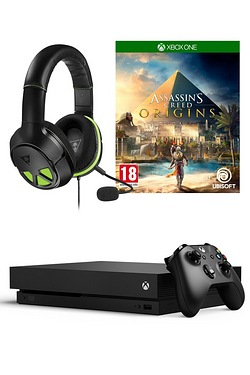 Xbox One X Black 1TB Console + Assassins Creed Origins + XO Three Headset + Wireless Controller
