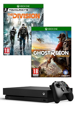 Xbox One X Black 1TB Console + Tom Clancys Ghost Recon Wildlands + Tom Clancys The Division