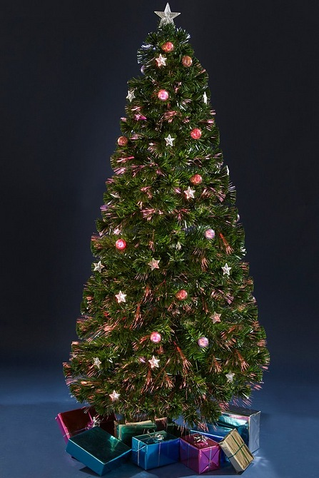 Fibre Optic Christmas Tree With Baubles.6ft Fibre Optic Star And Bauble Tree