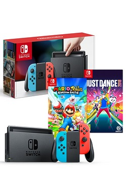 Nintendo Switch: Red/Blue + Mario and Rabbids Battle Kingdom + Just Dance 18