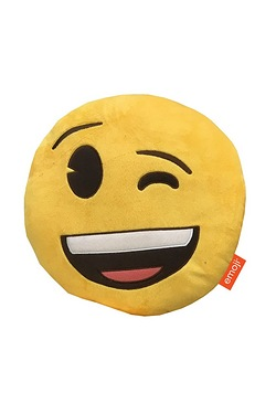 Emoji Wink Embroidered Plush Cushion