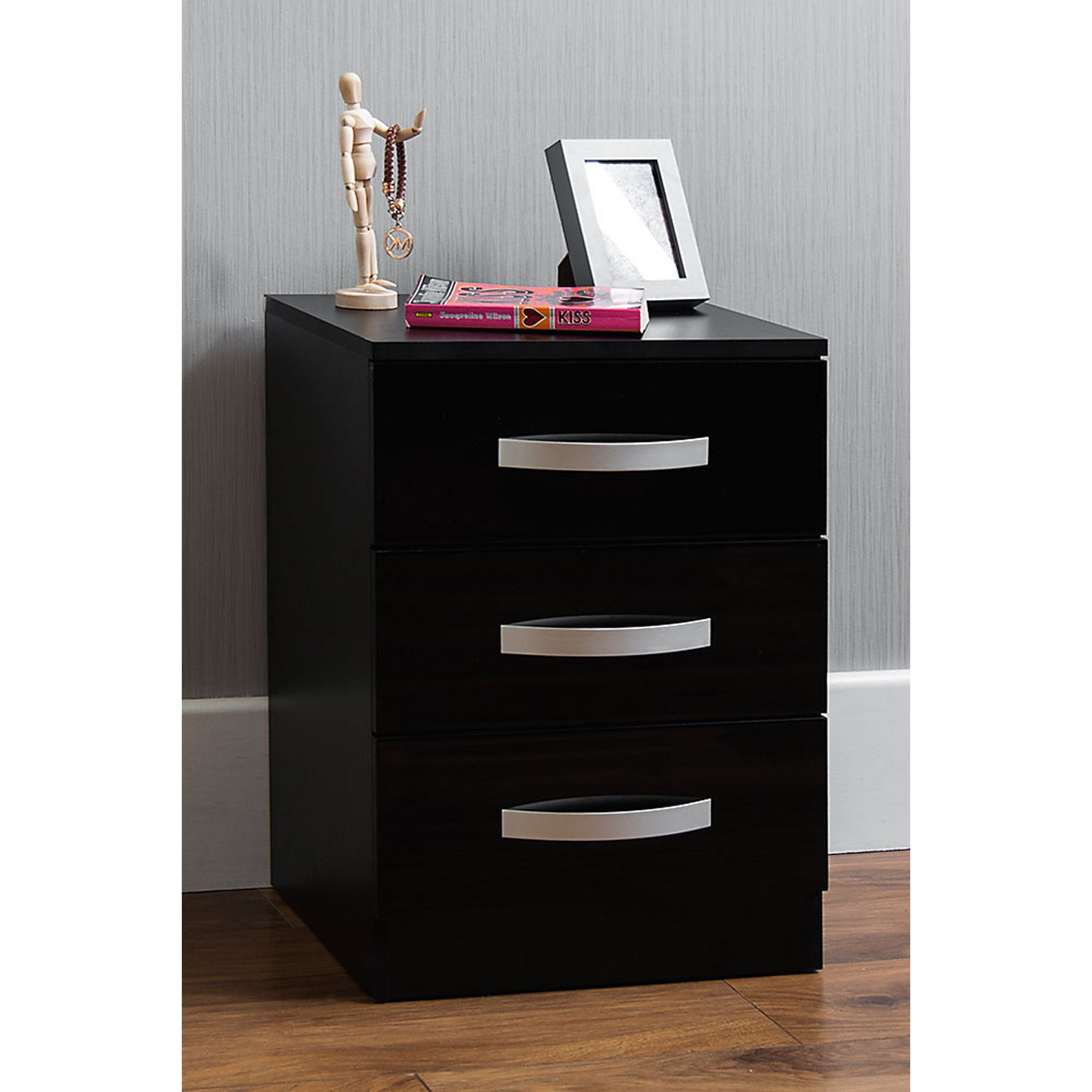 Image of Gloss Front 3 Drawer Bedside Table