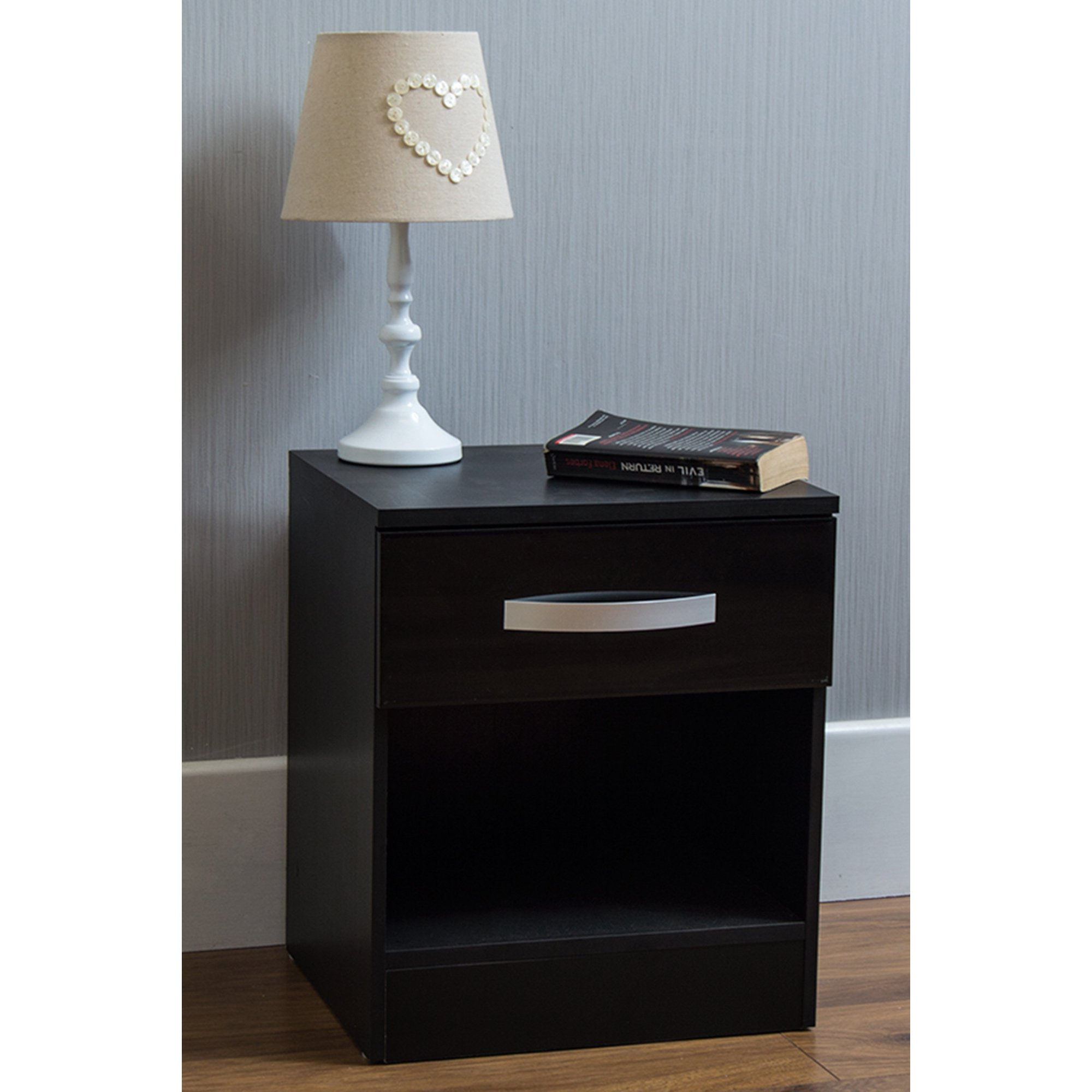 Image of Gloss Front 1 Drawer Bedside Table