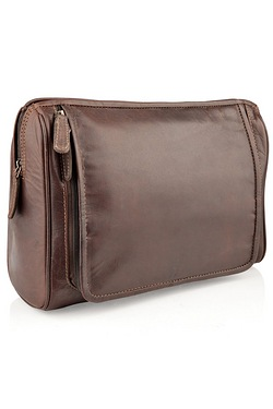 Woodland Leathers Brown Wash Bag