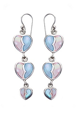 Silver and Mother of Pearl Blue and Pink Heart Earrings