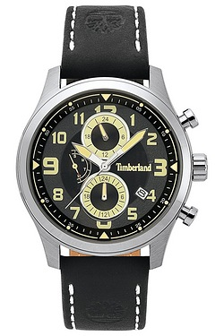 Timberland Groverton Black Leather Strap Watch