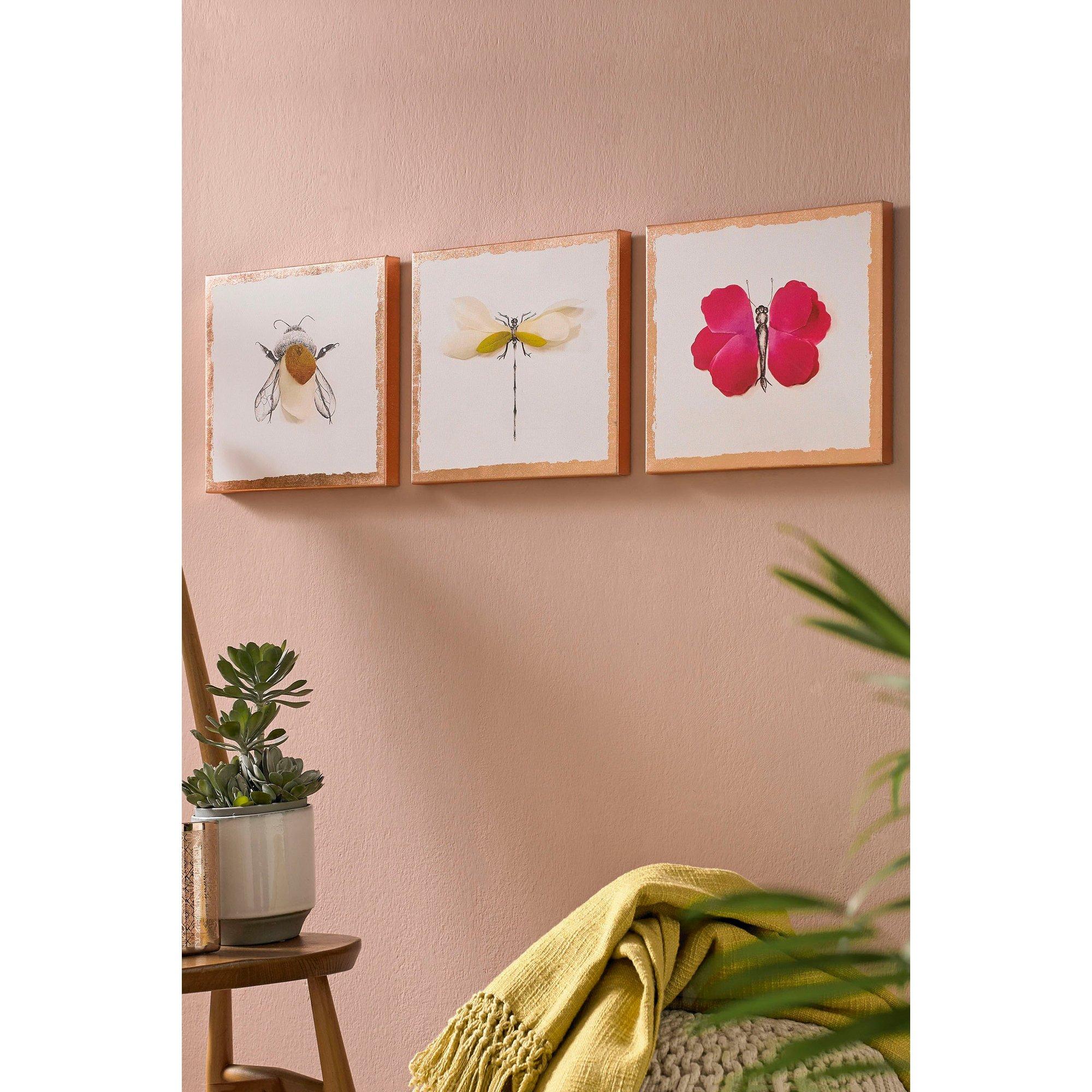 Image of Beautiful Bugs Set of 3 Canvas