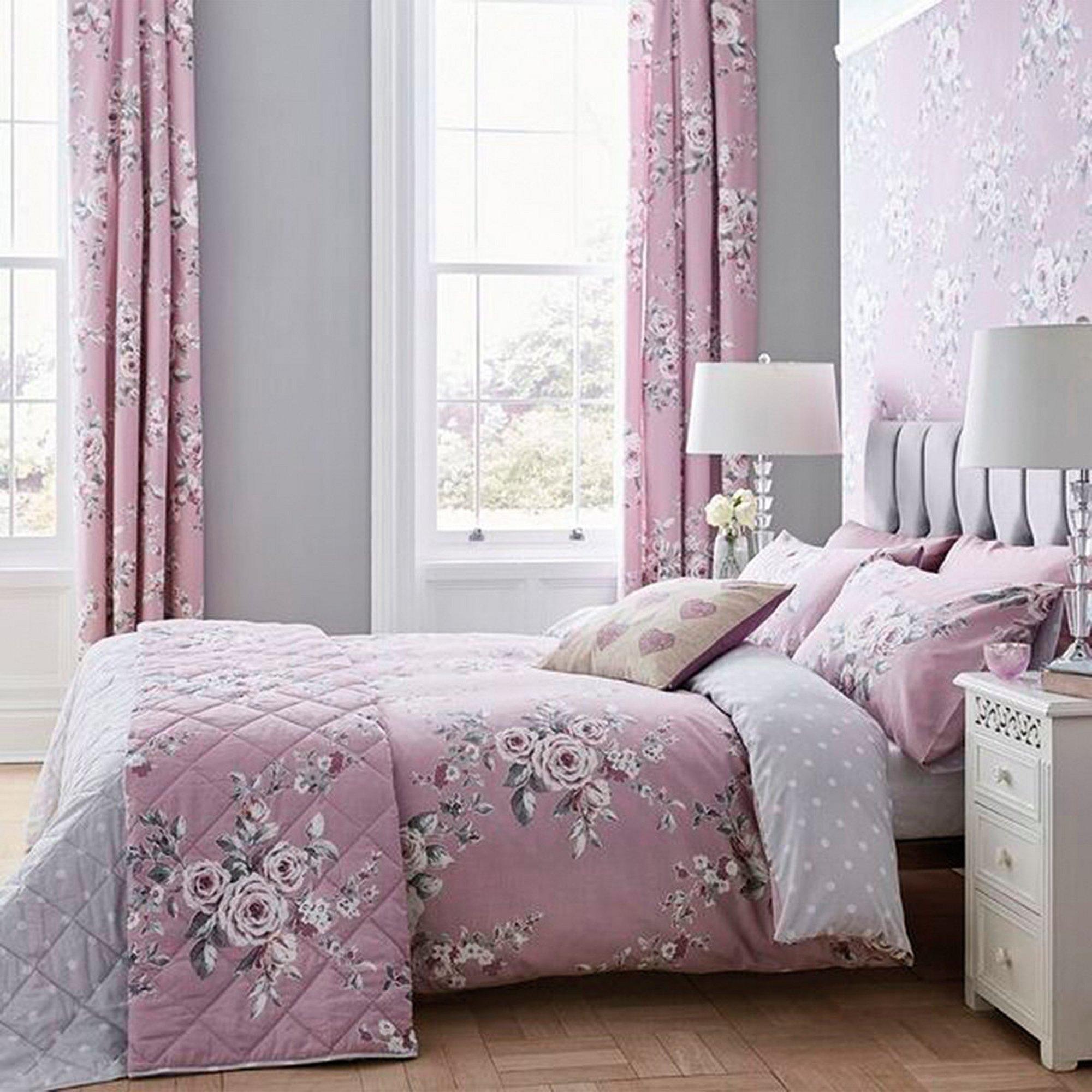 Image of Canterbury Floral and Polka Dot Lined Eyelet Curtains