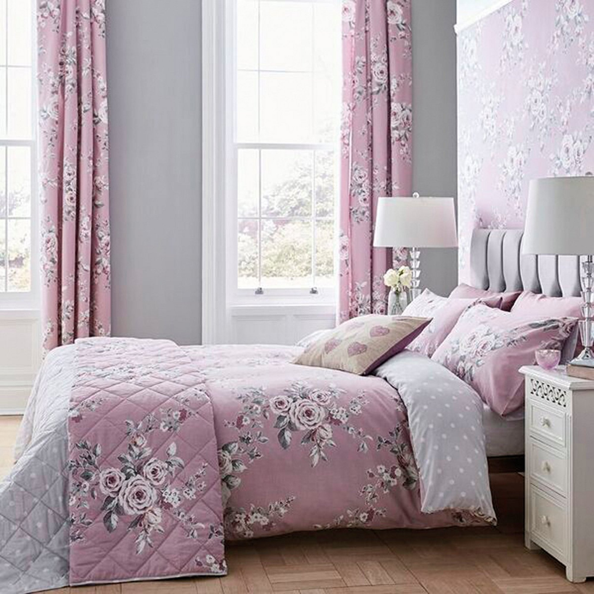 Image of Canterbury Floral and Polka Dot Reversible Bedspread