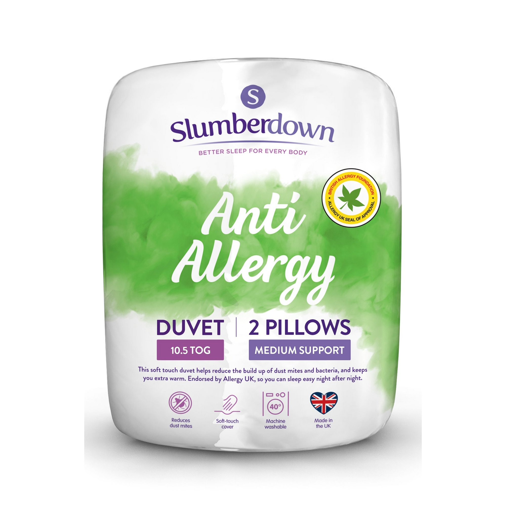 Image of Slumberdown Anti Allergy 10.5 Tog Duvet and 2 Pillows