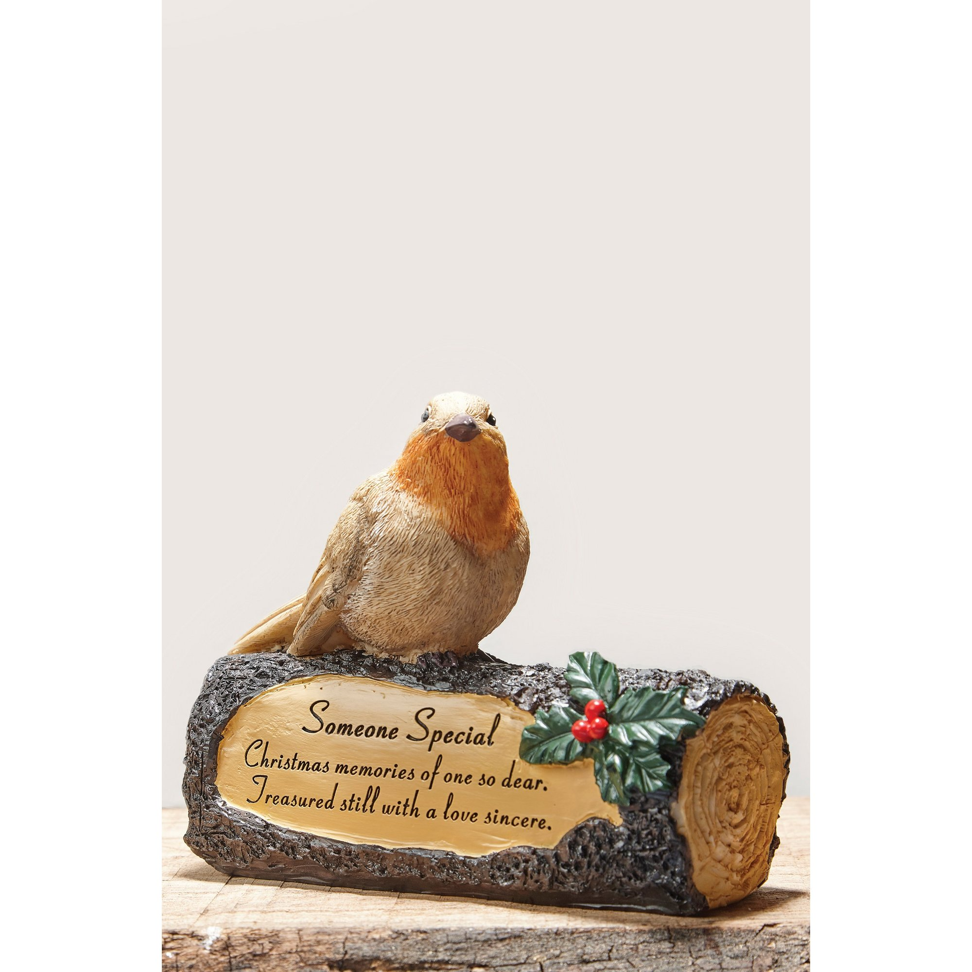 Image of Robin and Poinsettia Memorial Log Someone Special