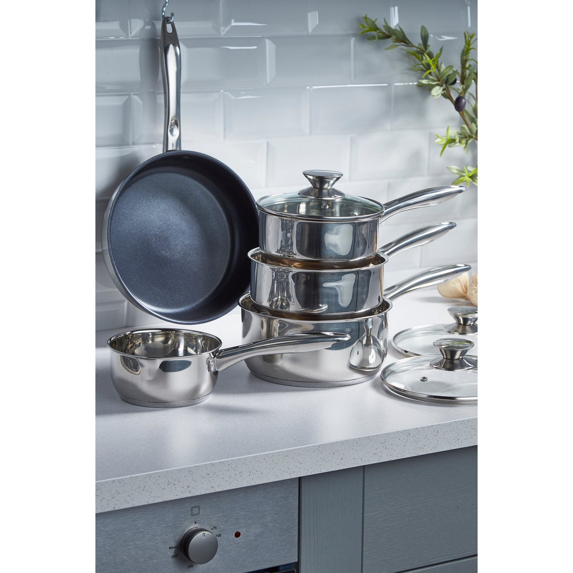 Image of 5-Piece Russell Hobbs Classic Collection Stainless Steel Pan Set