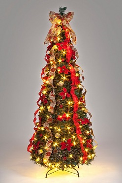 6ft pre lit poinsettia pop up decorated christmas tree