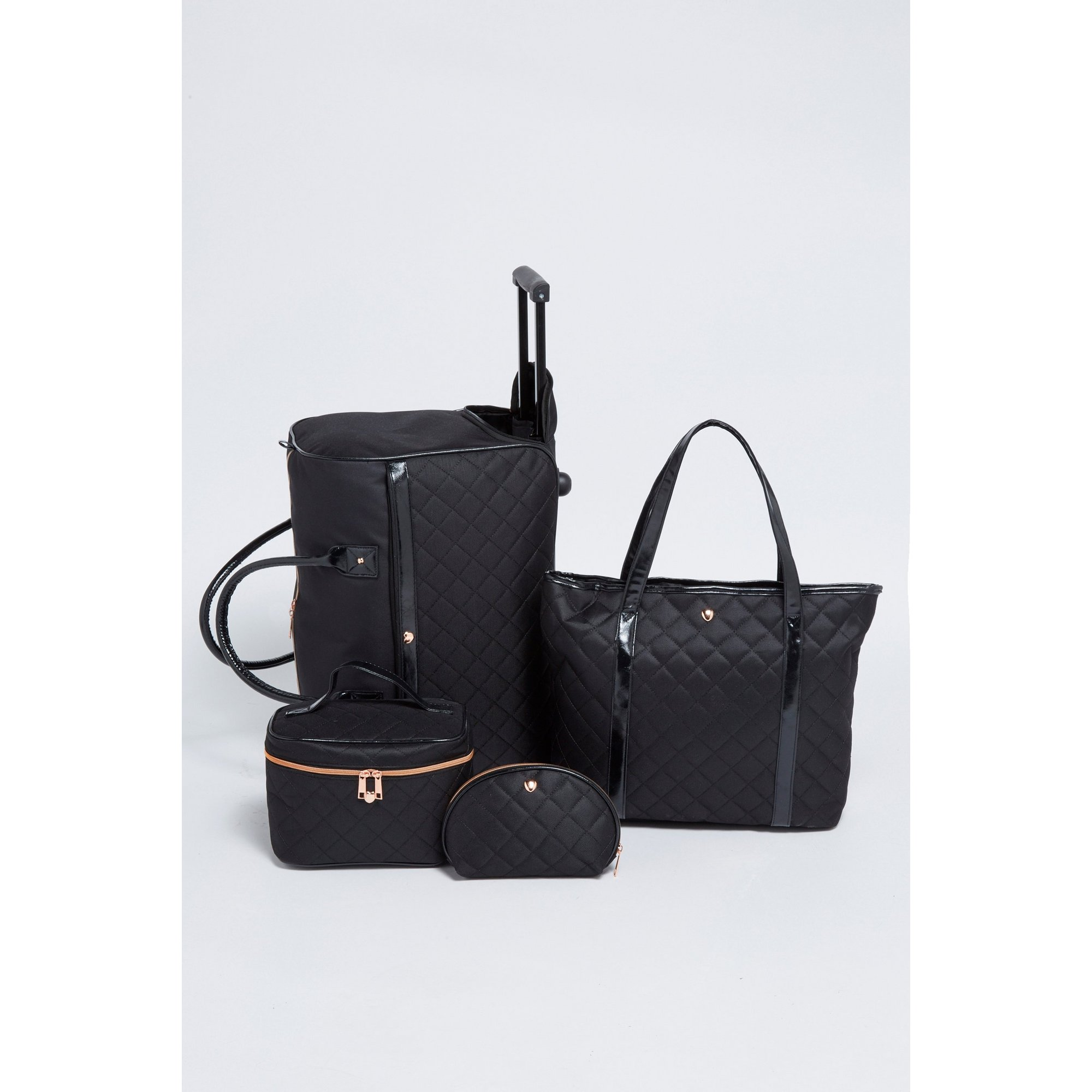 Image of Black Quilted 4-Piece Bag Set