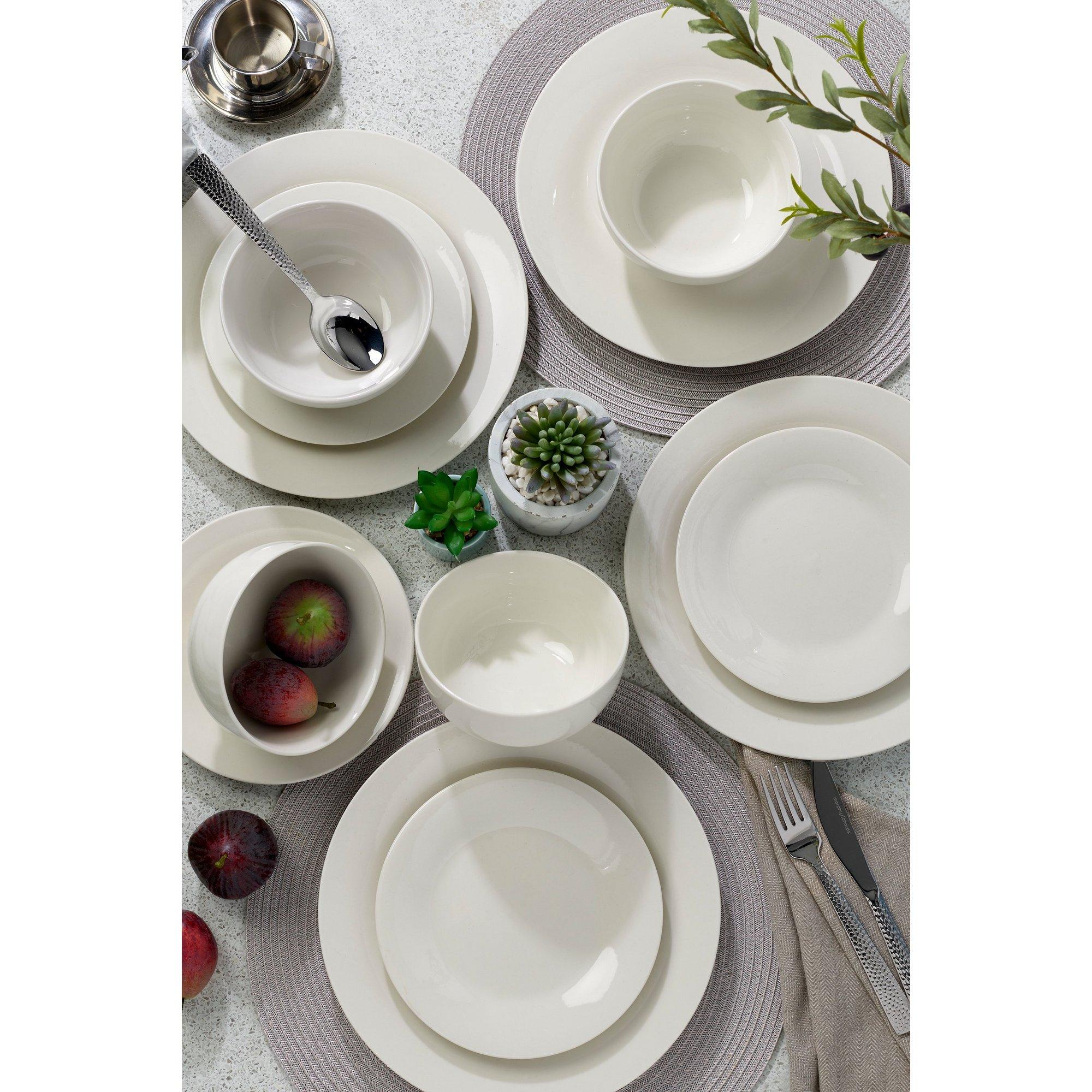 Image of 12-Piece Porcelain White Dinner Set