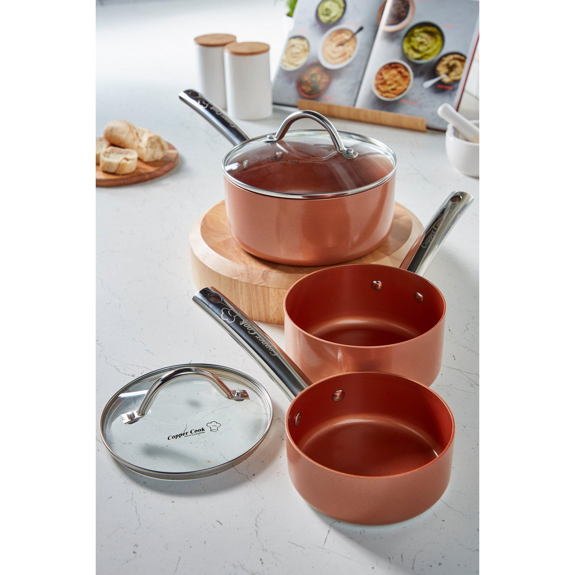 Image of Copper Cook 3-Piece Saucepan Set