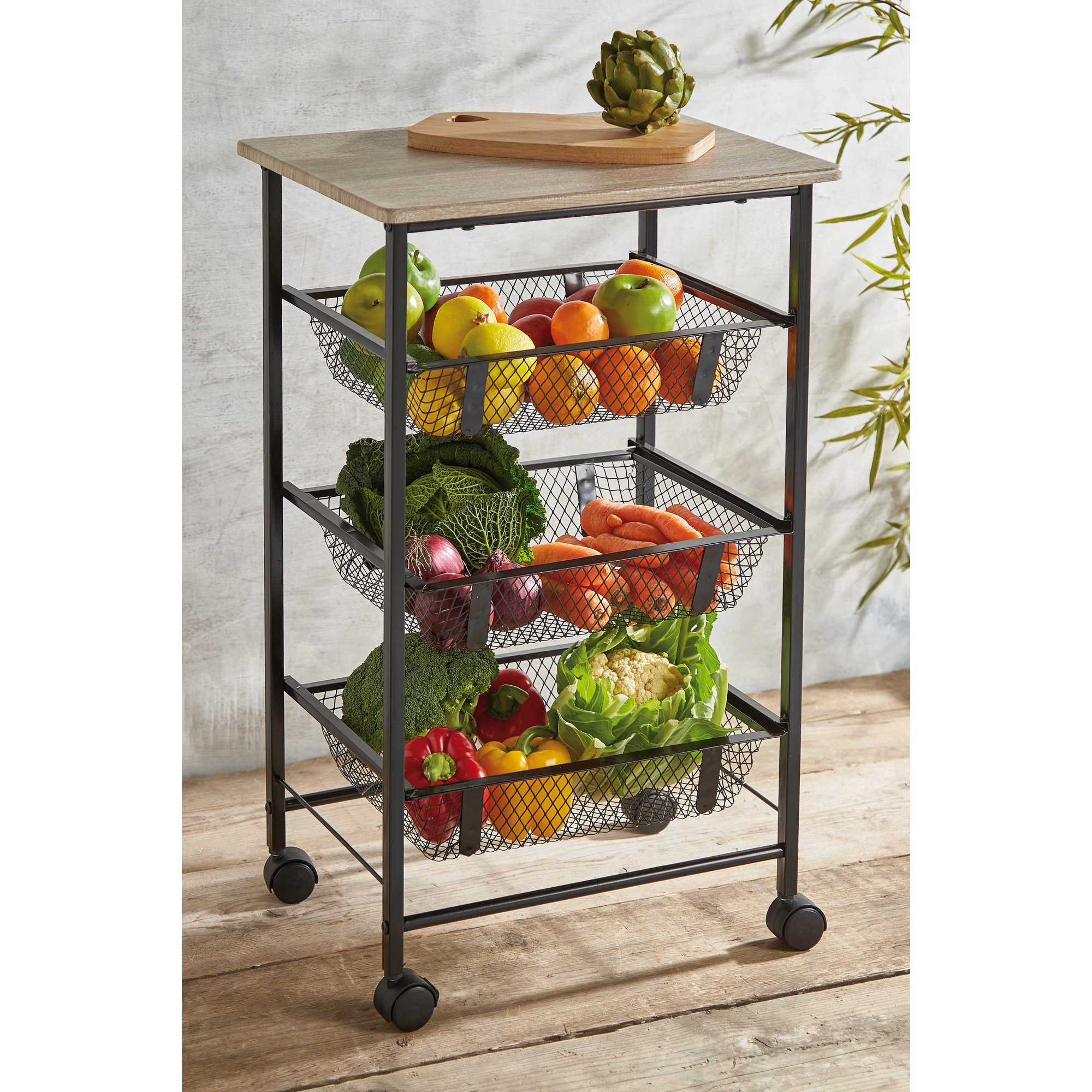 Image of Black Wire Kitchen Trolley