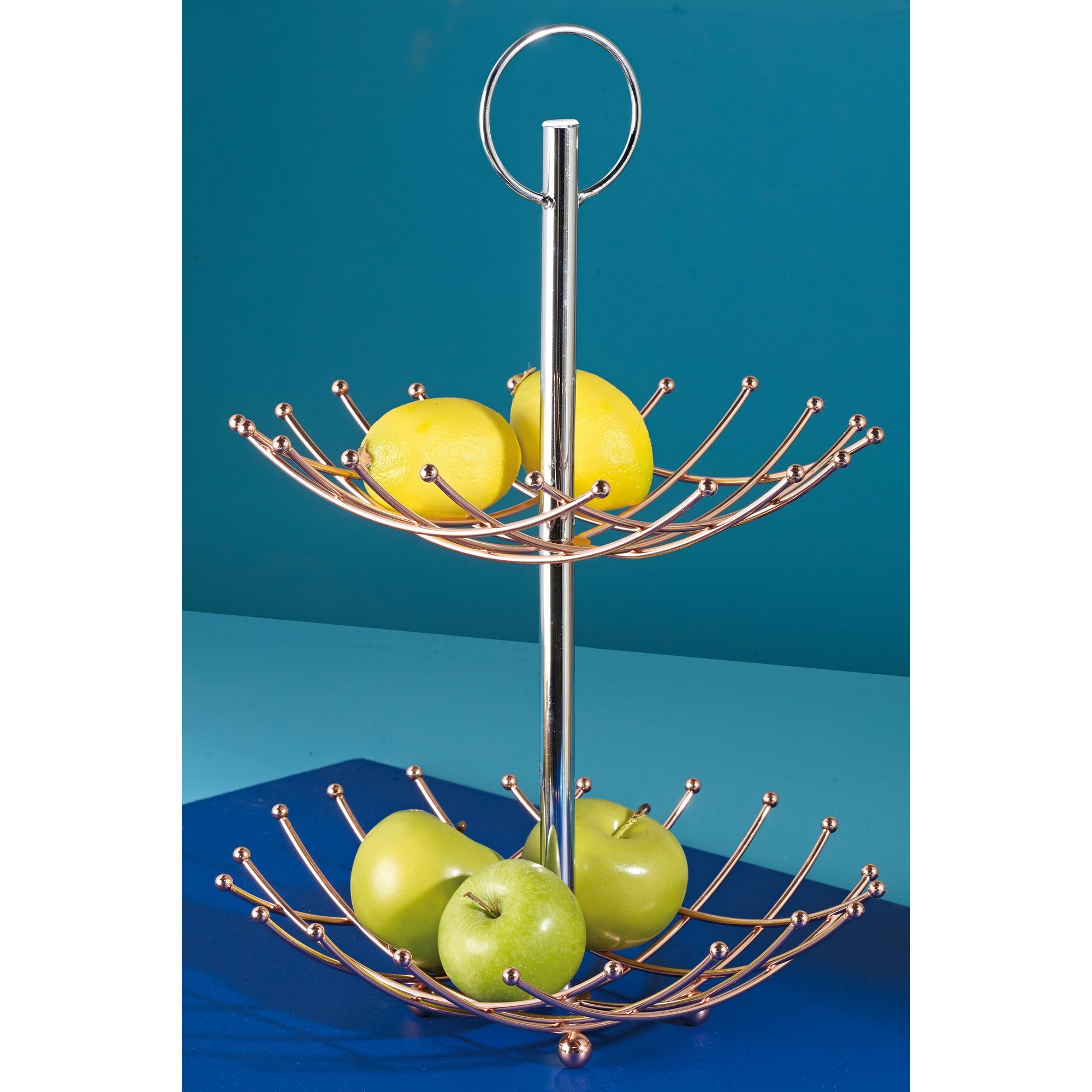 Image of Copper Plated 2-Tier Fruit Bowl