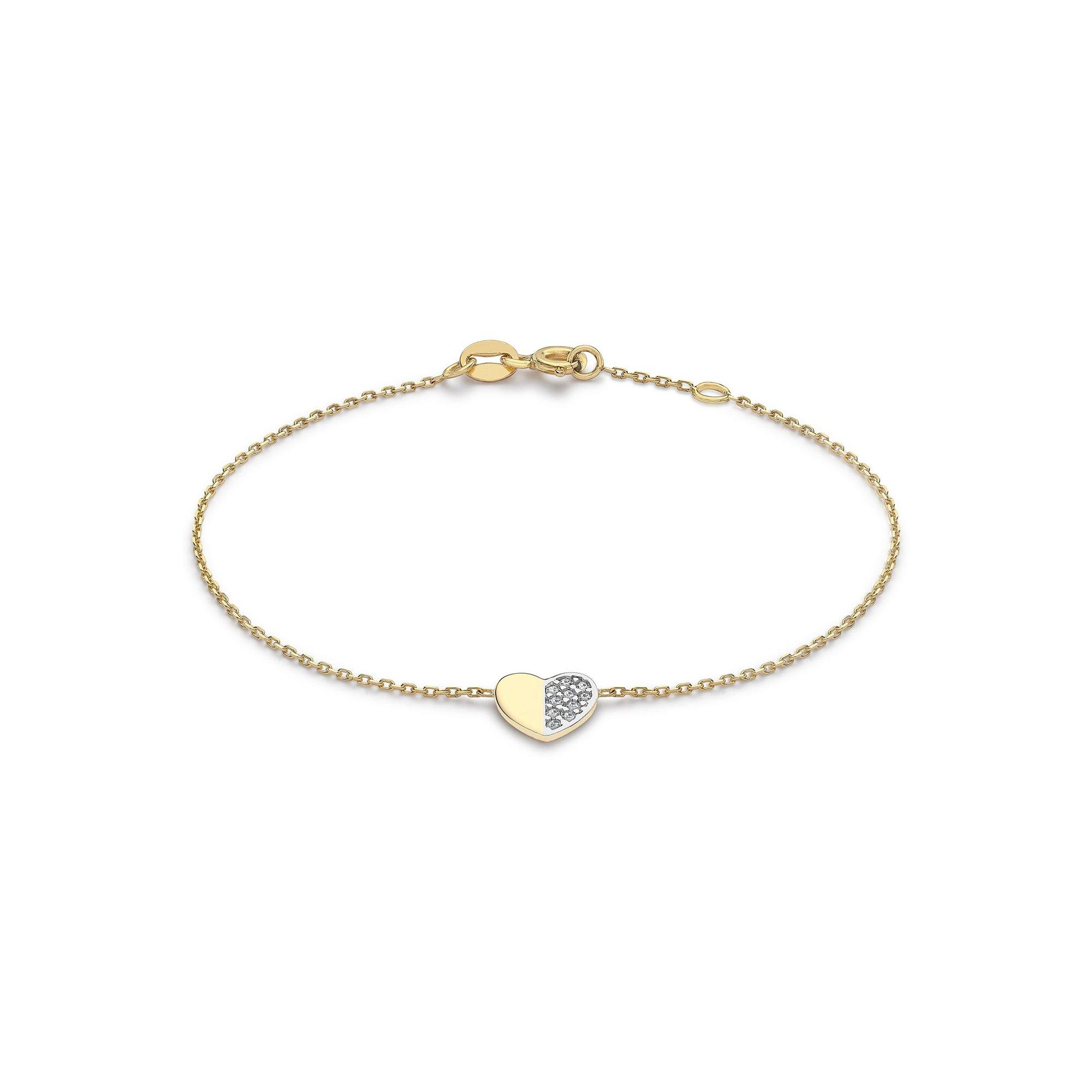 Image of 9ct 2-Tone Gold CZ Heart Adjustable Bracelet
