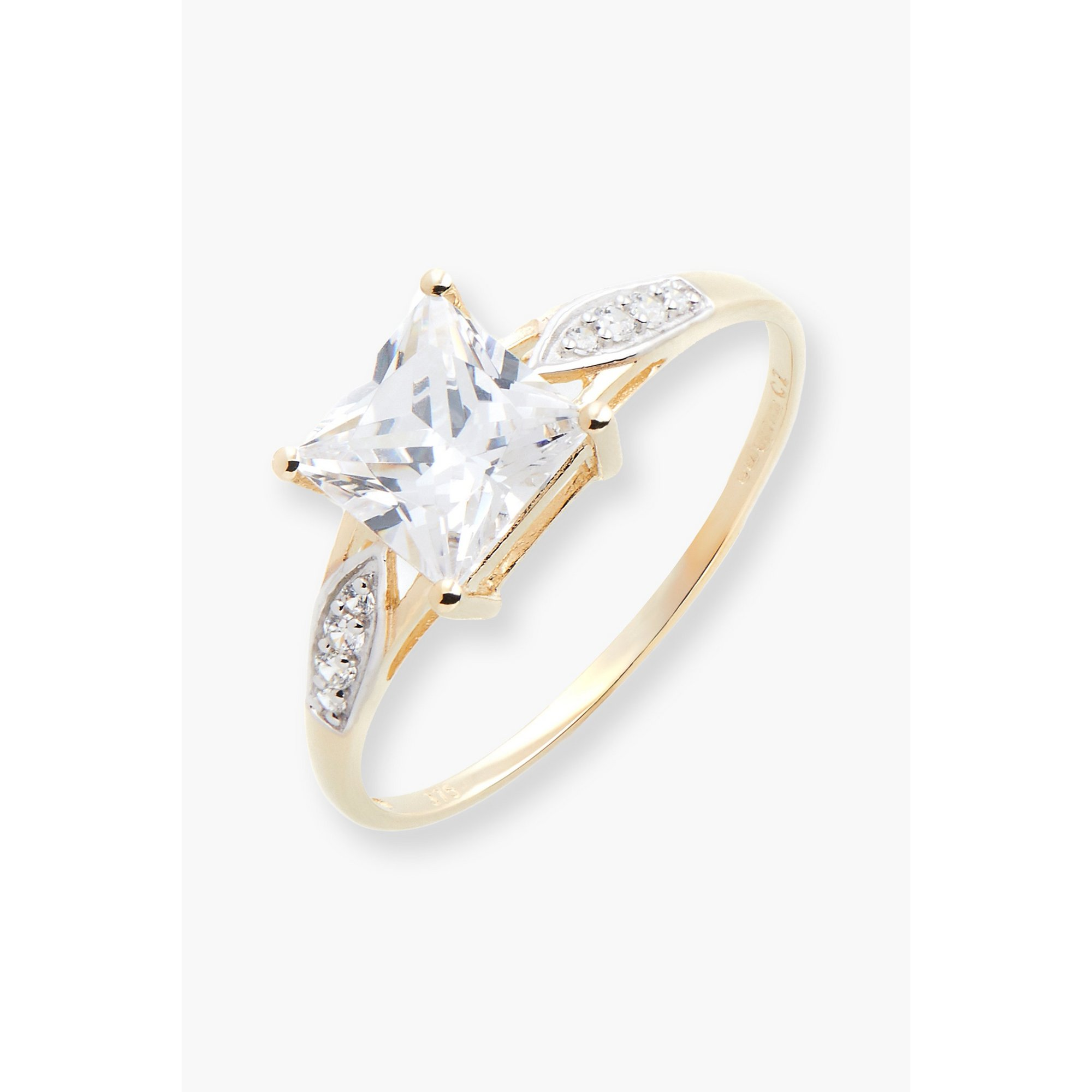 Image of 9ct Gold CZ Square Ring