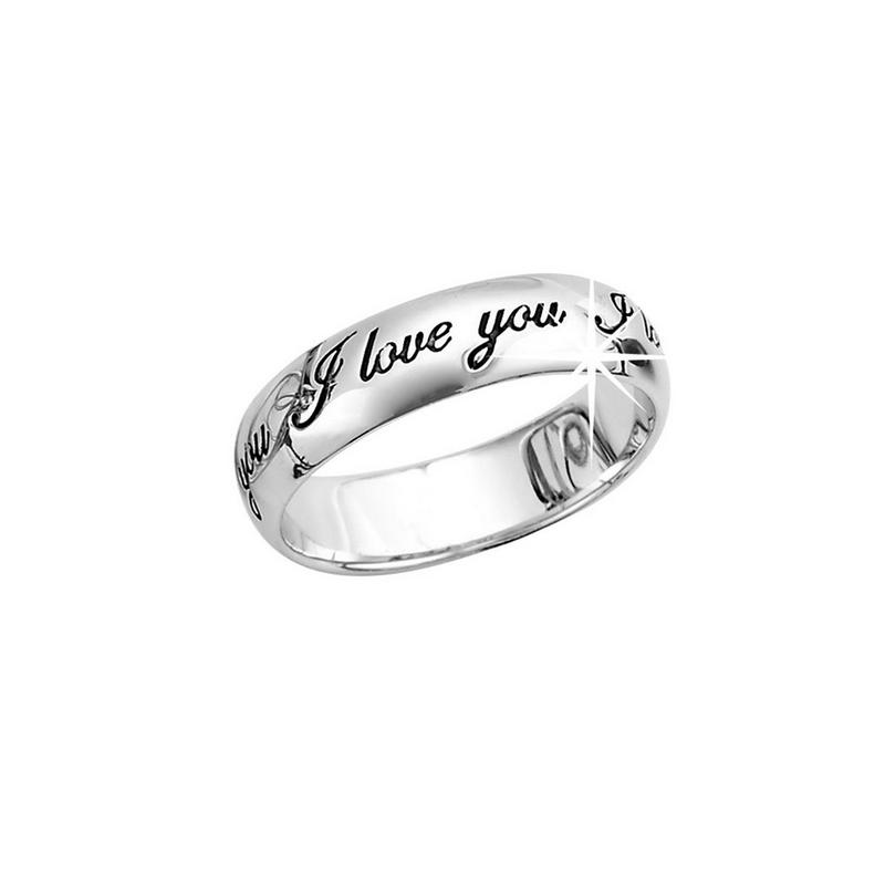 Silver Rhodium Plated I Love You Band Ring