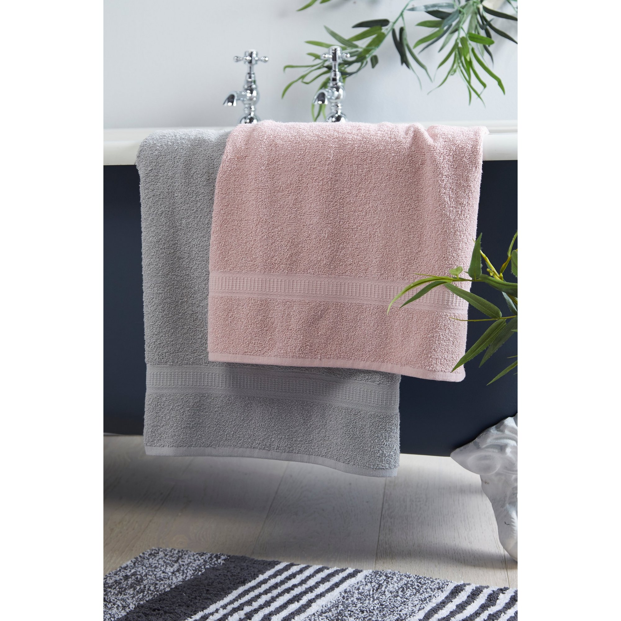 Image of 8-Piece Grey and Blush Pink Duo Towel Bale