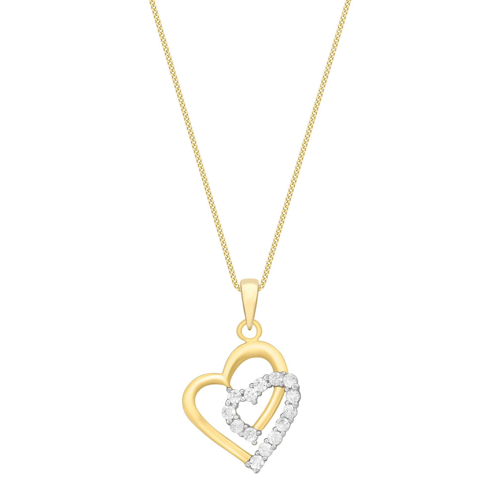 Image of 9ct Gold Double CZ Heart Pendant