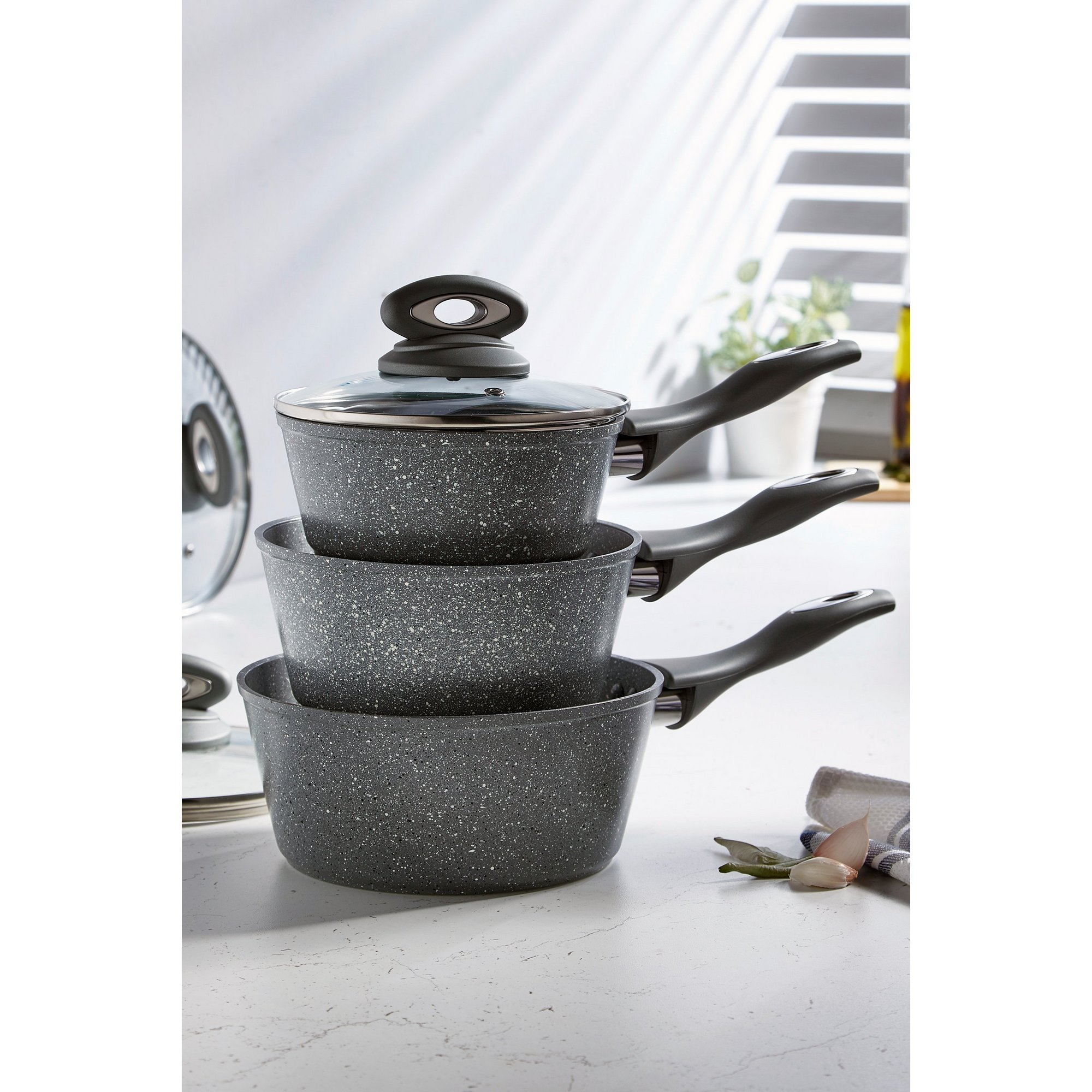 Image of 3-Piece Salter Grey Marble Pan Set