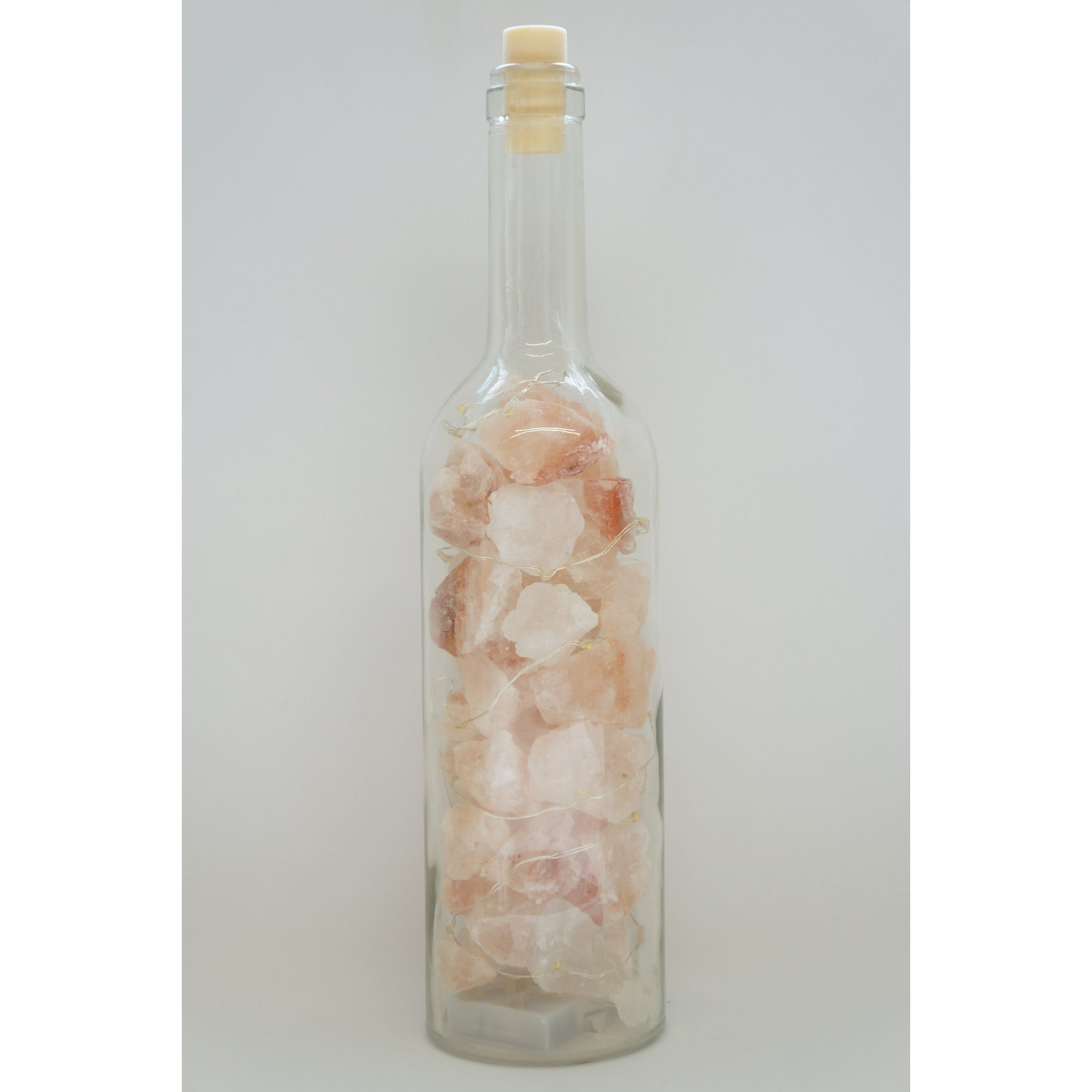Image of Himalayan Pink Salt Glass Bottle Lamp with String Lights