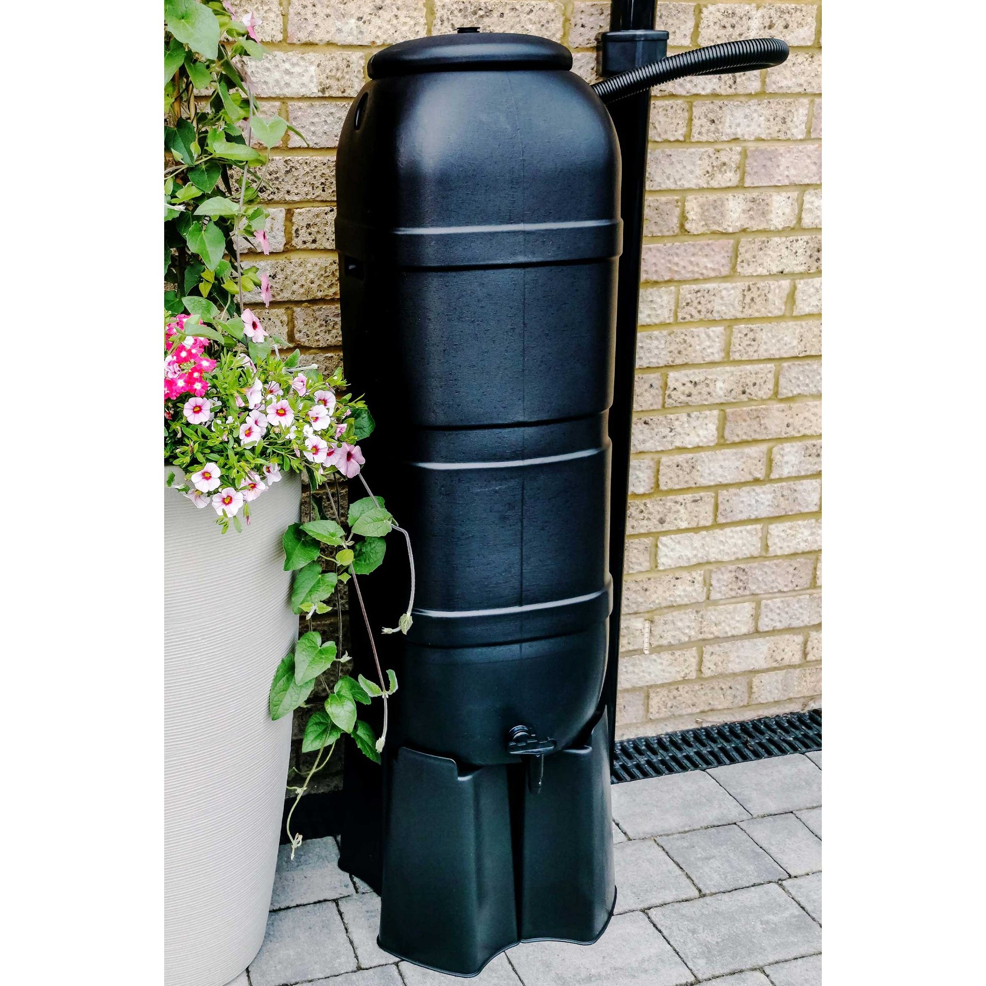 Image of 100L Slimline Garden Water Butt Set Including Tap Stand and Filler Kit