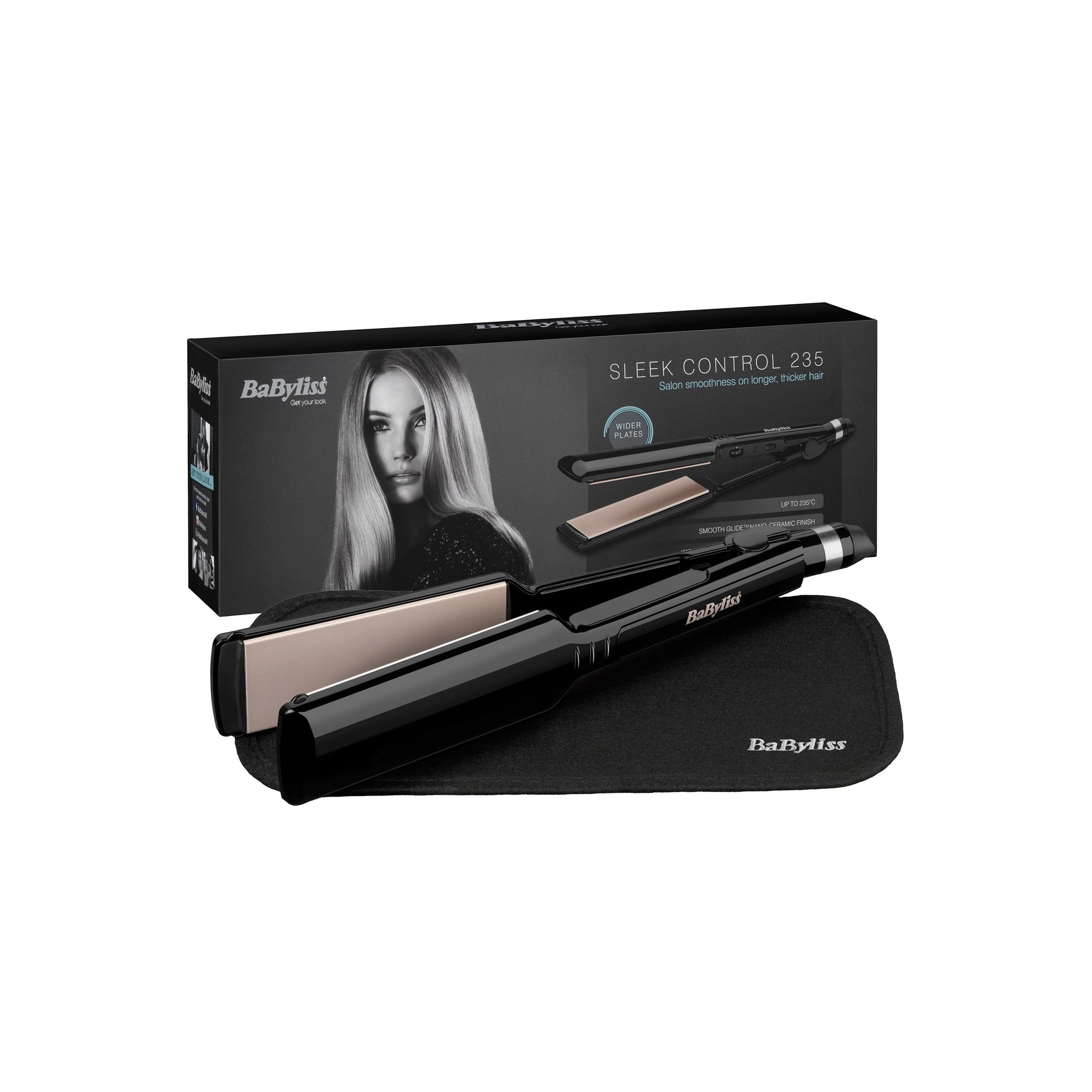 Image of BaByliss 2179U Nano Ceramic 235 Womens Hair Straightener with Heat Mat