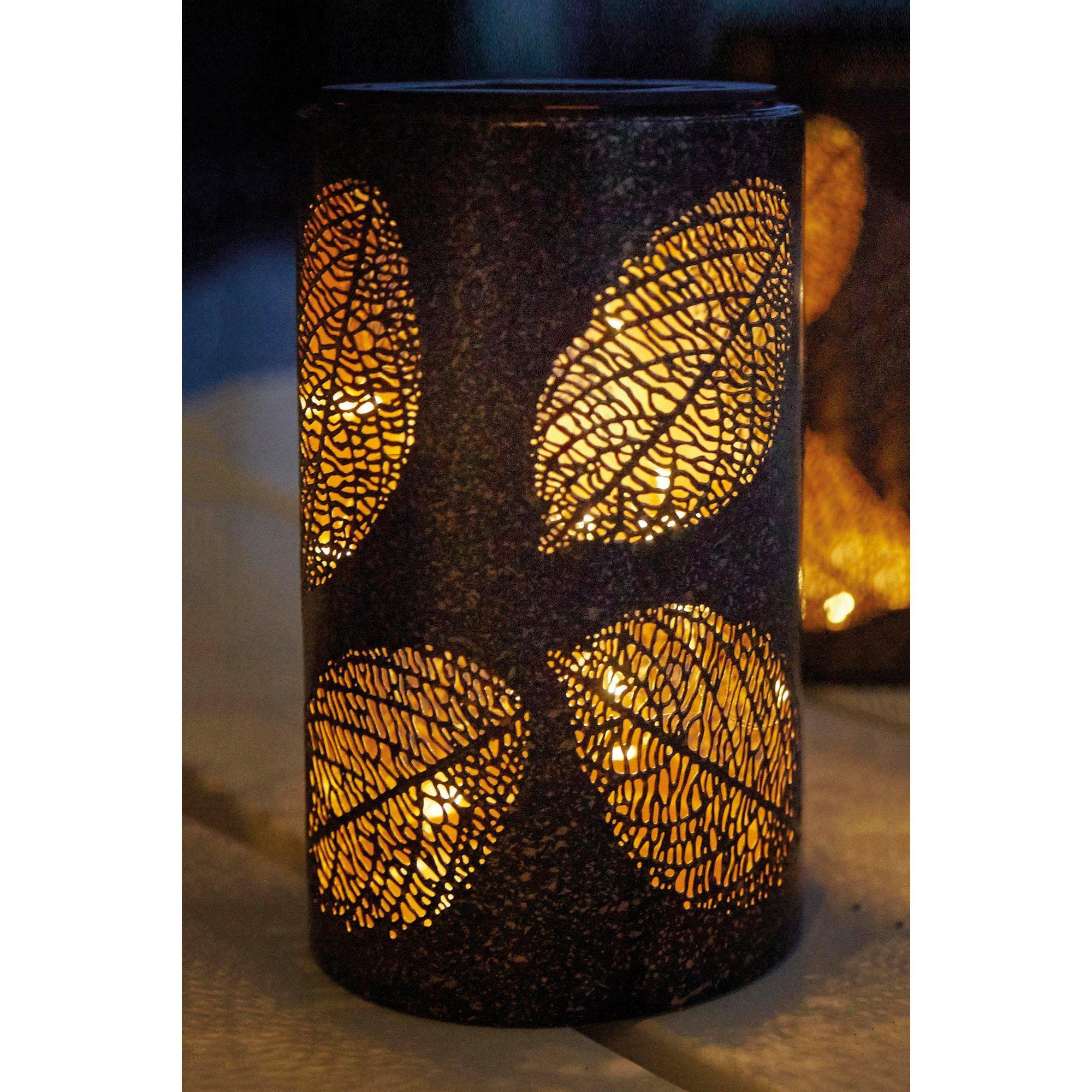 Pair Of Solar Metal Leaf Lanterns