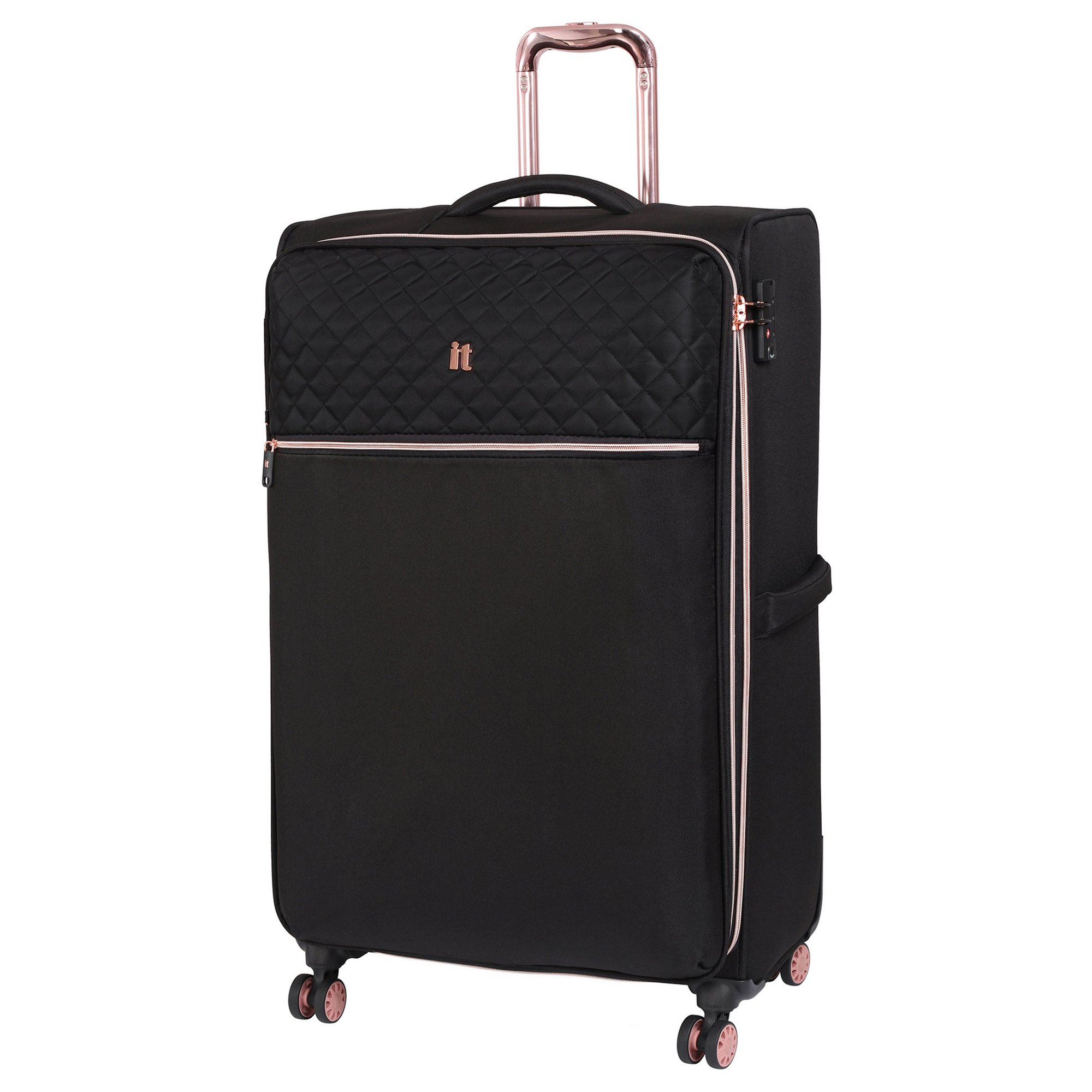 Image of IT Luggage Divinity 8 Wheel Black Expander Suitcase with Lock