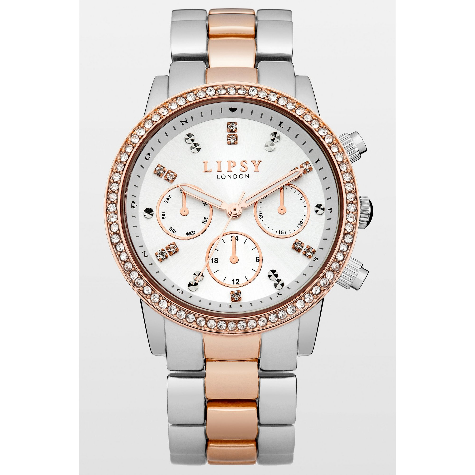 Image of Lipsy Ladies Silver/Rose Gold Bracelet Watch with White Dial
