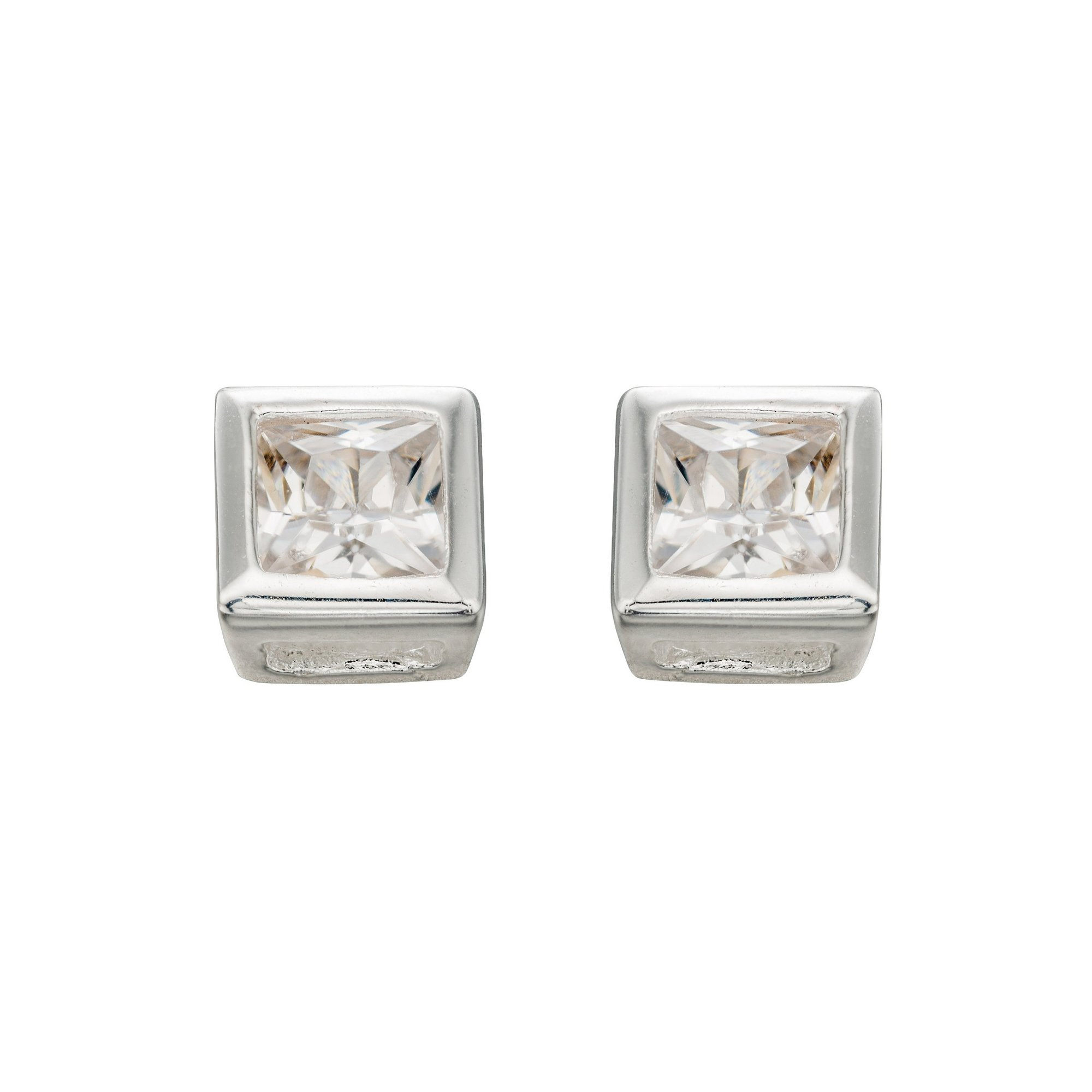 Image of Beginnings Clear CZ 4.5mm Square Stud Earrings