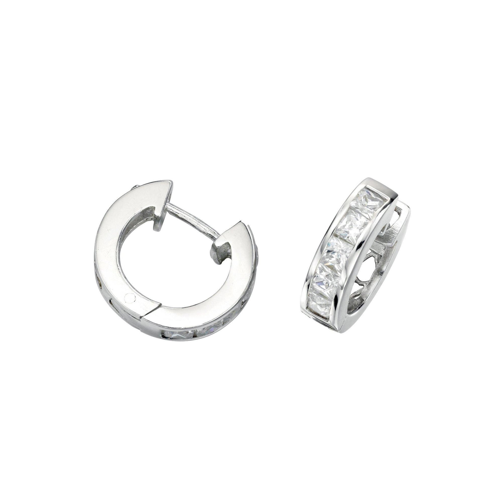 Image of Beginnings Clear CZ 5 Square Stones Hoop Earrings