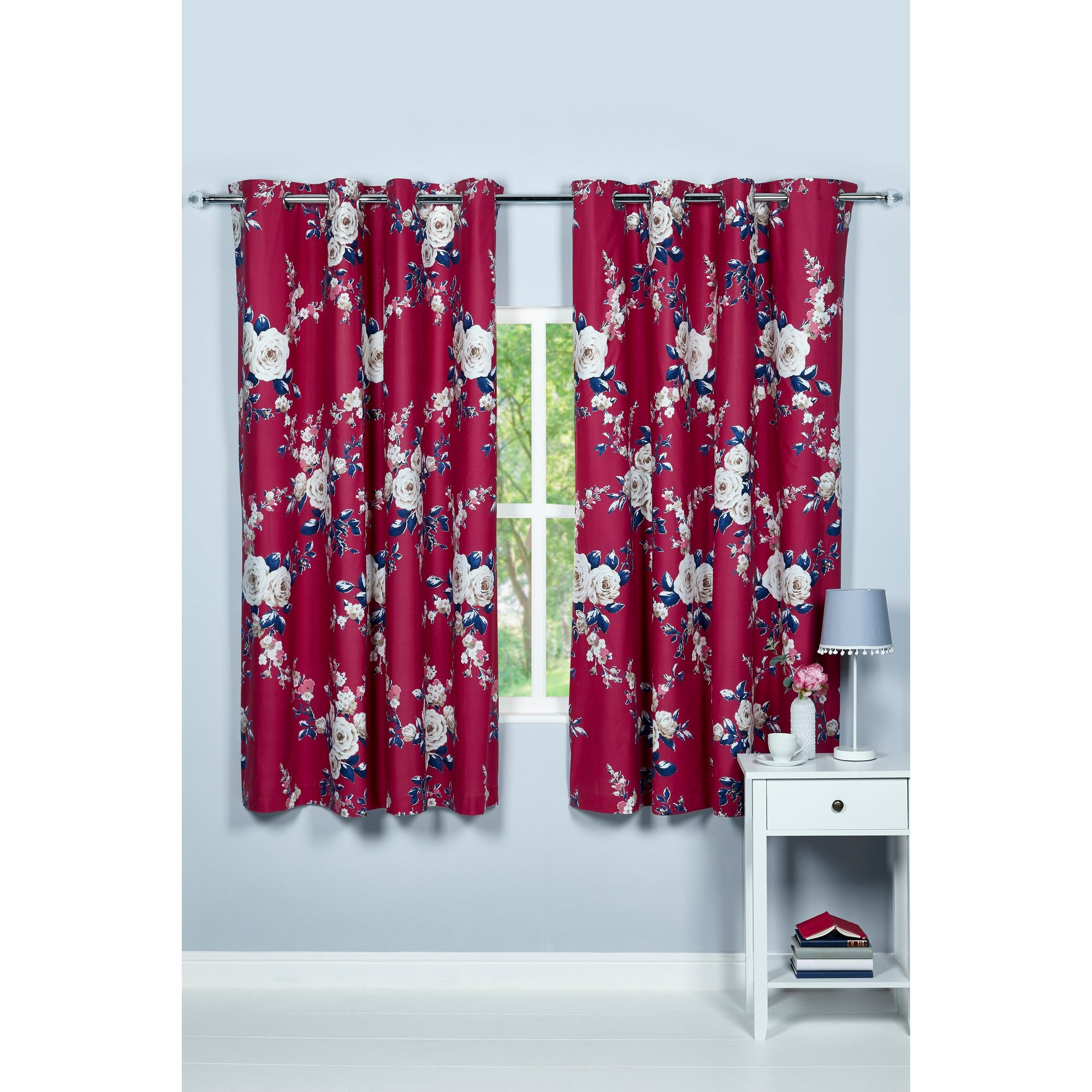 Image of Canterbury Berry Blackout Eyelet Lined Curtains