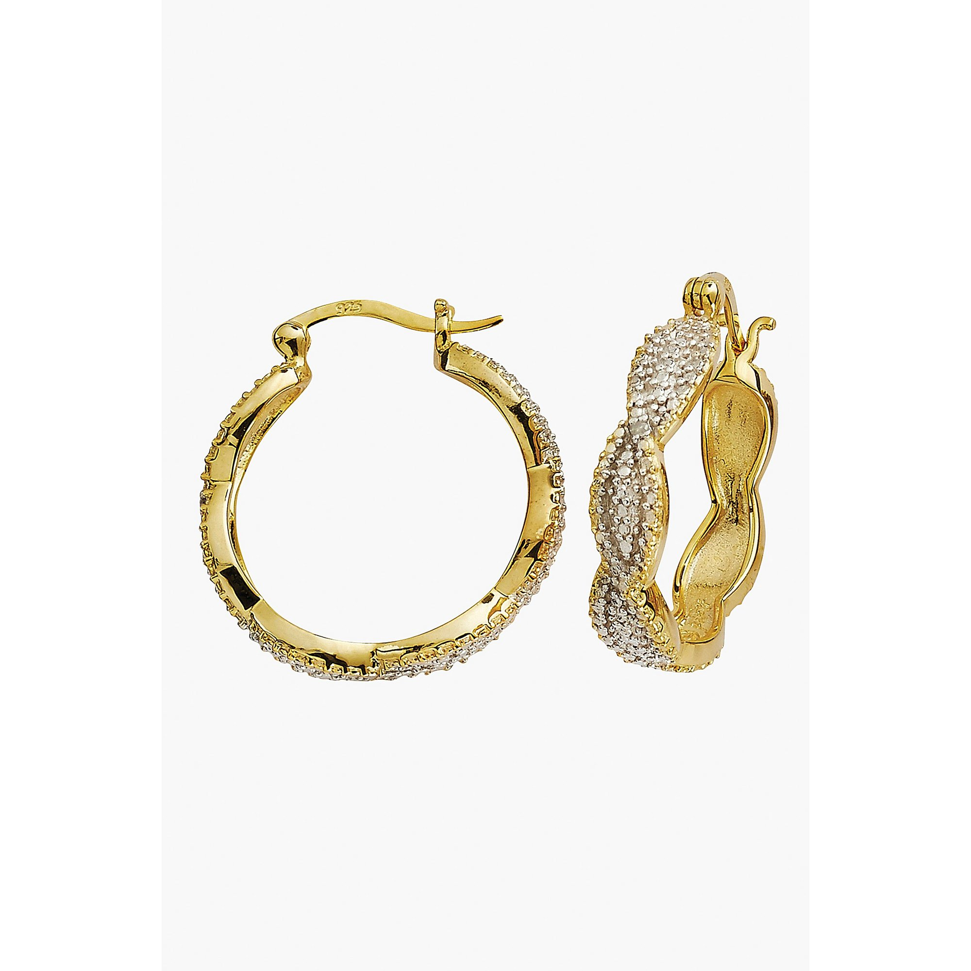 Image of Diamond Cut Gold Plated Hoop Earrings
