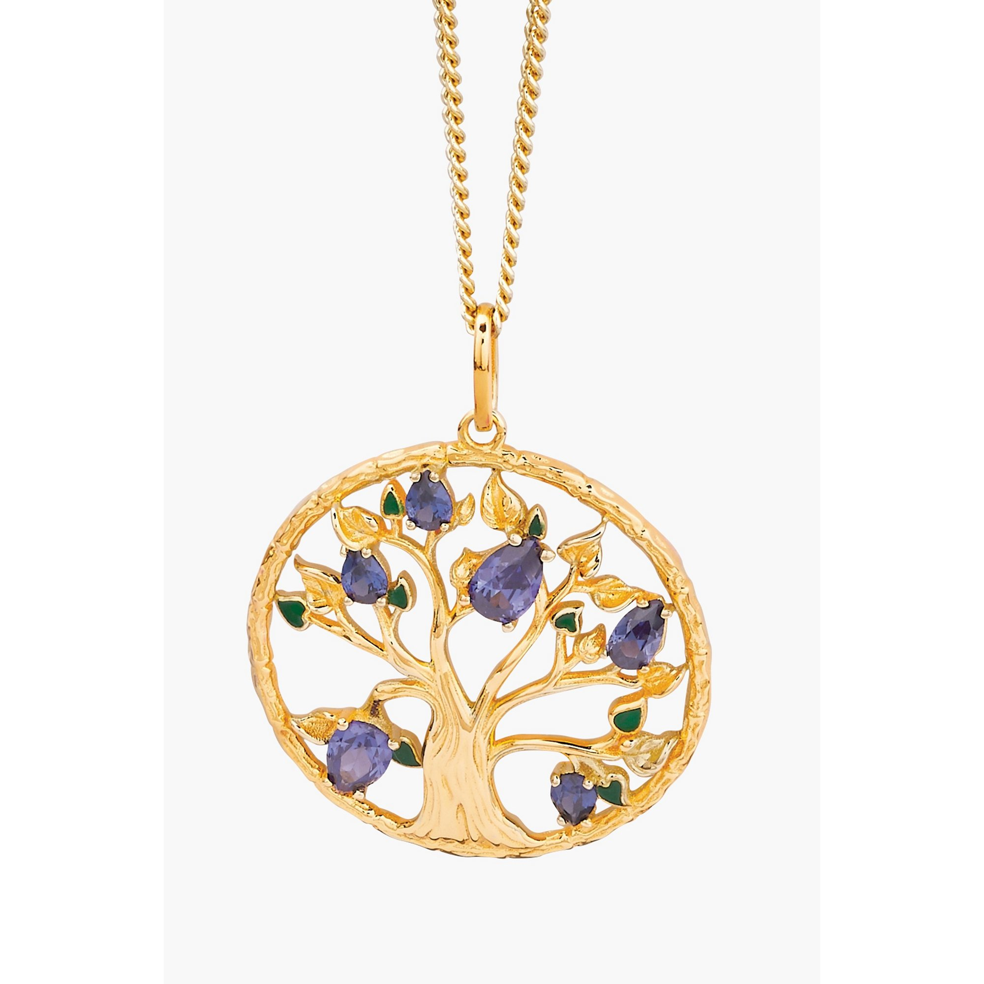 Image of 18ct Gold Plated Sterling Silver CZ and Enamel Tree of Life Pendant