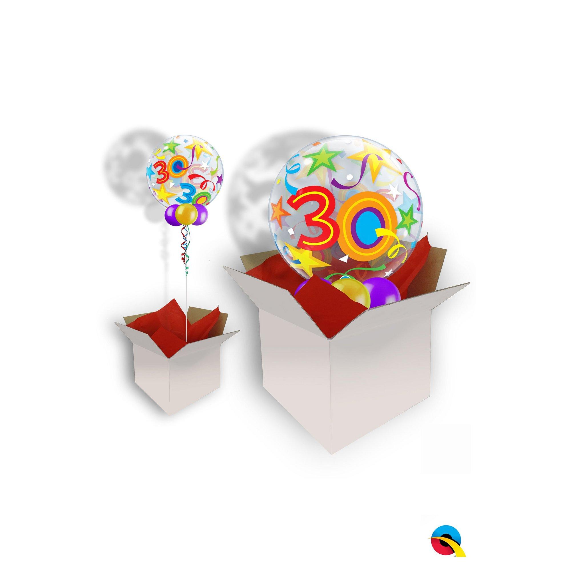 Image of 30th Birthday Brilliant Stars Bubble Balloon