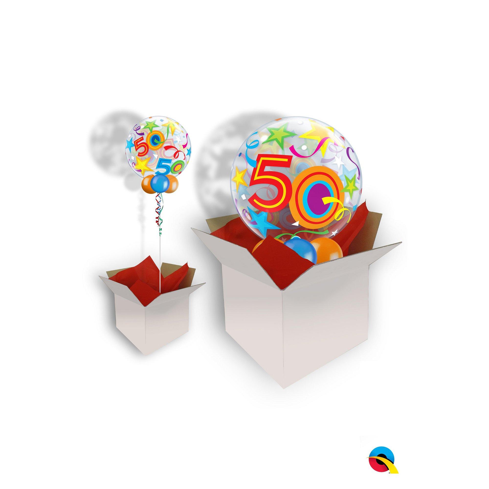 Image of 50th Birthday Brilliant Stars Bubble Balloon